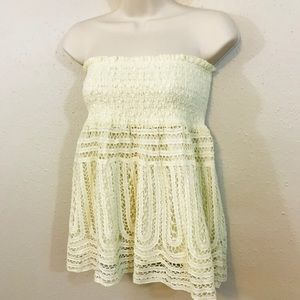 Hazel Strapless Top - Small Ivory - Anthropologie